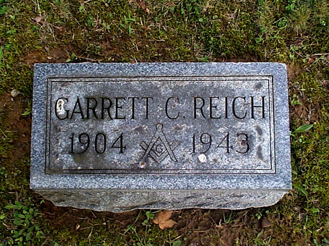 Garrett Reich grave in Ward 39A at Maplewood (New Lexington) Cemetery. In center of plot is Large stone, Dunlapp, Reich & Kunce. 394224N 0821253W